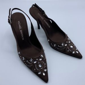 Michael Shannon brown jewel embroidery heels